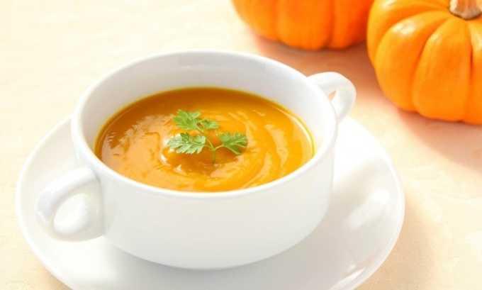 Полезным блюдом при данной форме недуга будет суп-пюре из тыквы