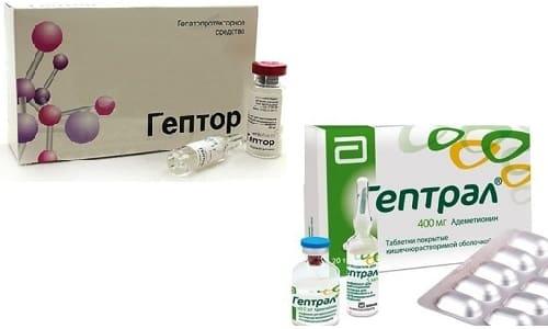 Нормализовать работу печени помогают гепатопротекторы, например, Гептор или Гептрал