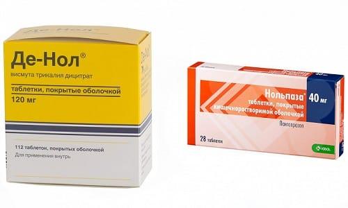 Проявления гастрита можно вылечить с помощью препаратов Де-Нол и Нольпаза